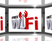 Free Wifi On Screen Showing Television With Internet Access Royalty Free Stock Photos