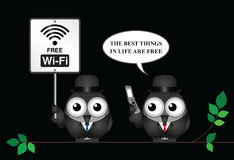 Free WIFI sign. Comical free WIFI sign with businessman accessing the internet via his mobile telephone Stock Image