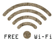 Free WIFI sign. With old stonework wall visible through graphics on white background Royalty Free Stock Images