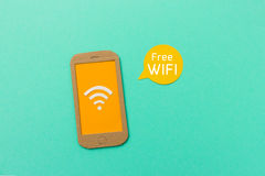 Free wifi sign with smartphone and signal icon Royalty Free Stock Photo