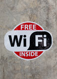 Free wifi sign on the wall Royalty Free Stock Image