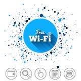 Free wifi sign. Wifi symbol. Wireless Network. Button on circles background. Free wifi sign. Wifi symbol. Wireless Network icon. Wifi zone. Calendar line icon Royalty Free Stock Photos