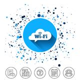 Free wifi sign. Wifi symbol. Wireless Network. Button on circles background. Free wifi sign. Wifi symbol. Wireless Network icon. Wifi zone. Calendar line icon Royalty Free Stock Image