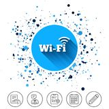 Free wifi sign. Wifi symbol. Wireless Network. Button on circles background. Free wifi sign. Wifi symbol. Wireless Network icon. Wifi zone. Calendar line icon Royalty Free Stock Images