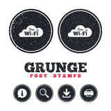 Free wifi sign. Wifi symbol. Wireless Network. Grunge post stamps. Free wifi sign. Wifi symbol. Wireless Network icon. Wifi zone. Information, download and Royalty Free Stock Images