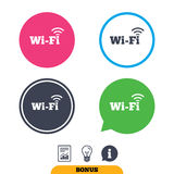 Free wifi sign. Wifi symbol. Wireless Network. Free wifi sign. Wifi symbol. Wireless Network icon. Wifi zone. Report document, information sign and light bulb Royalty Free Stock Image