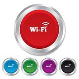 Free wifi sign. Wifi symbol. Wireless Network. Free wifi sign. Wifi symbol. Wireless Network icon. Wifi zone. Round metallic buttons Stock Photo