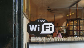 Free WiFi symbol in Bergamo Royalty Free Stock Photos