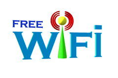 Free wifi. Symbol text color of free wifi Royalty Free Stock Images