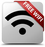 Free wifi white square button red ribbon in corner. Free wifi isolated on white square button with red ribbon in corner abstract illustration Stock Images