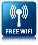 Free wifi (wlan network) blue square button Royalty Free Stock Images