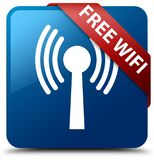 Free wifi (wlan network) blue square button red ribbon in corner Royalty Free Stock Images