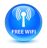 Free wifi (wlan network) glassy cyan blue round button Royalty Free Stock Image