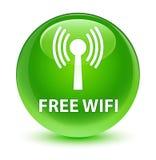 Free wifi (wlan network) glassy green round button Stock Photos
