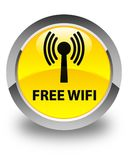Free wifi (wlan network) glossy yellow round button Stock Images