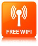 Free wifi (wlan network) orange square button Royalty Free Stock Image