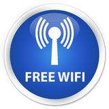 Free wifi (wlan network) premium blue round button Royalty Free Stock Image