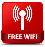 Free wifi (wlan network) red square button red ribbon in middle Royalty Free Stock Image