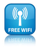 Free wifi (wlan network) special cyan blue square button Stock Photography