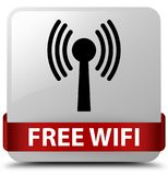 Free wifi (wlan network) white square button red ribbon in middl Stock Image