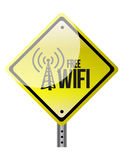Free wifi yellow diamond sign illustration design Royalty Free Stock Image
