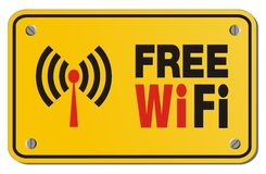 Free WiFi yellow sign - rectangle sign stock illustration