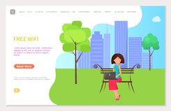 Free Wifi Zone in City Park Woman Sitting on Bench royalty free illustration