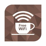Free wifi zone, icon concept for cafe or coffee shop  on on polygon style background, Abstract geometric background Stock Photos