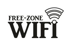 A free wifi zone sign. Wifi zone sign signal wireless spot connection bar icon network notebook black symbol stock illustration