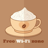 Free wifi zone. Sign template for restaurants and cafese Royalty Free Stock Photography