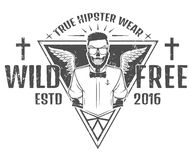 Free and wild hipster style design of print for T Shirts Stock Images