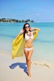 Free woman enjoying freedom feeling happy at beach Stock Photos