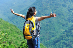 Free woman hiker Royalty Free Stock Photography