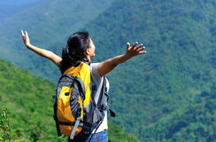 Free woman hiker face the jungle Royalty Free Stock Images