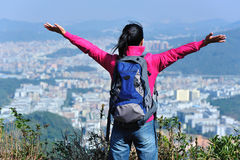 free woman hiker mountain peak Royalty Free Stock Photos