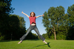 A free woman jumping Stock Photos
