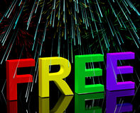Free Word And Fireworks Showing Freebie and Promo Stock Image