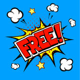 Free wording in comic speech bubble on blue Stock Photography