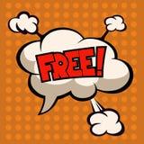 Free wording in comic speech, cloud on orange background Stock Photos