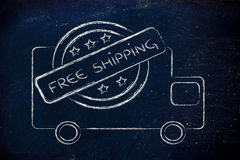 Free worldwide shipping truck design. Logo for an initiative of free worldwide shipping Royalty Free Stock Image