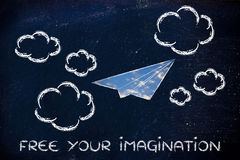 Free your imagination (paper airplane illustration) Royalty Free Stock Photo