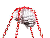 Free your mind. 3d image of white model brain and red chain background Royalty Free Stock Photos