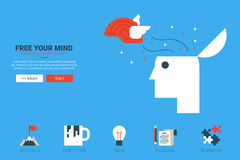Free your mind concept. Free your mind - creative idea concept illustration website with icon in flat design royalty free illustration