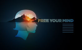 Free Your Mind Design Template. Free Your Mind. Vector poster template with concept illustration. Double exposure girl portrait and mountain, forest and sea vector illustration
