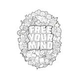 Free Your Mind - Hand Lettering and Doodles Elements Sketch on E Stock Images