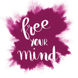 Free your mind inspirational message on purple background Royalty Free Stock Images