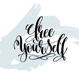 Free yourself - hand lettering inscription on blue brush Stock Photography