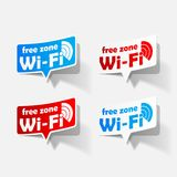 Free Zone wi-fi, sticker. It is a Free Zone wi-fi, sticker Stock Photos