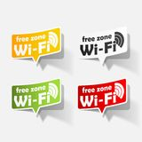 Free Zone wi-fi, sticker. This is file of EPS10 format Stock Photos