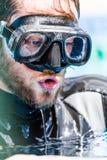 Freediver ждать с терпением результат, который дал судья af Стоковые Изображения RF